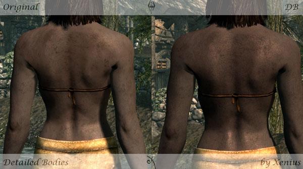 imagen de un antes y después de usar el mod detailed bodies, en una mujer de skyrim.