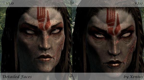 imagen de ejemplo donde podemos ver una comparativa, del nivel de definición logrado por el mod, Detailed Faces para Skyrim.