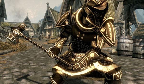imagen completa de un personaje con armadura y una de las armas del conjunto enano, Heroic Dwarven Armor and Weapons para Skyrim.