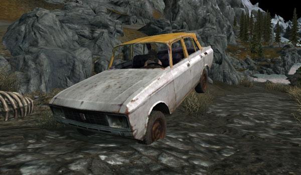 imagen de un coche antiguo recorriendo los caminos de Skyrim, gracias a Car Mod.