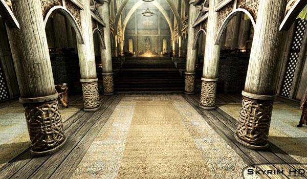 imagen del interior del palacio del jarl de carrera blanca, decorado con las texturas Skyrim HD - 2K Textures.