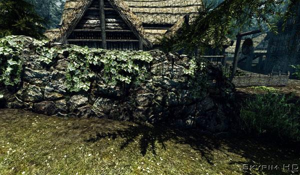imagen de un muro de piedra, donde podemos apreciar las texturas de alta definición de Skyrim HD - 2K Textures