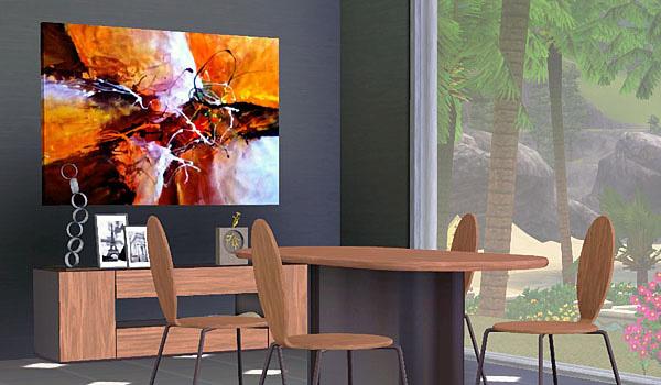 Mesa, sillas y cuadro de mobiliario living para los sims 3