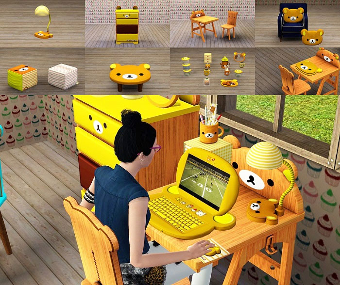 Mobiliario habitacón niños kawaii para Los Sims 3