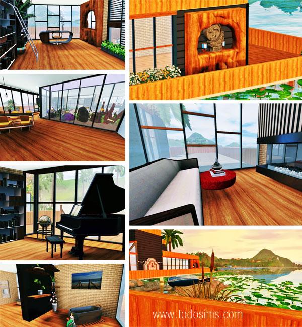 Habitaciones y muebles de ejemplo, que encontraremos en la casa mística para Los Sims 3.