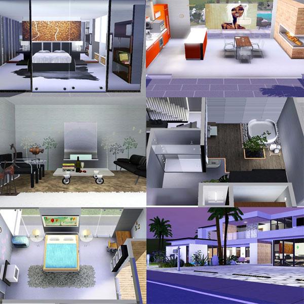imagen de las habitaciones y decoración de la casa ultramoderna para Los Sims 3
