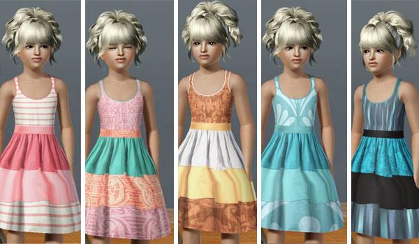 Vestido de franjas de niña para Los Sims 3