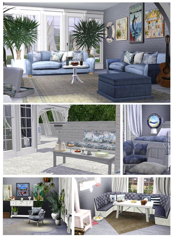 imagen compuesta por tres imégenes de ejemplo, donde vemos varias estancias de la casa sea heaven.