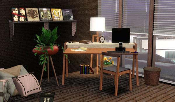 imagen de una posible combinación y decoración, usando los muebles del pack voom studio.
