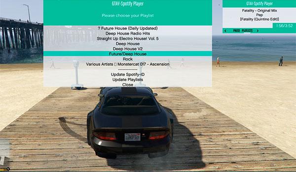 imagen donde vemos un menú donde podemos elegir las canciones y las listas de Spotify desde GTA 5.